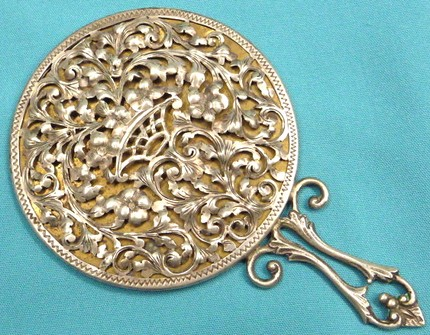 Antique Italian Floral Repousse Hand Mirror 800 Silver