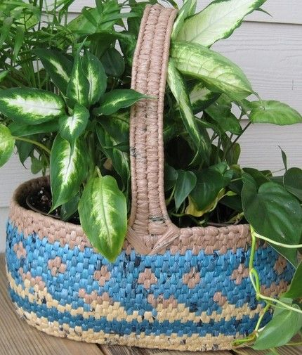 EcoFriendly Recycled GREEN Bag Basket
